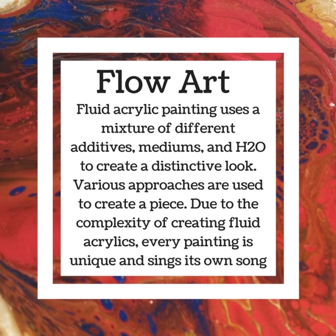Fluid acrylic painting uses a mixture of different additives, mediums, and H2O to create a distinctive look. Various approaches are used to create a piece. Due to the complexity of creat